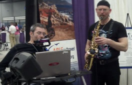 Dave playing the Jamboxx with Erik (Robo Sax) Klein