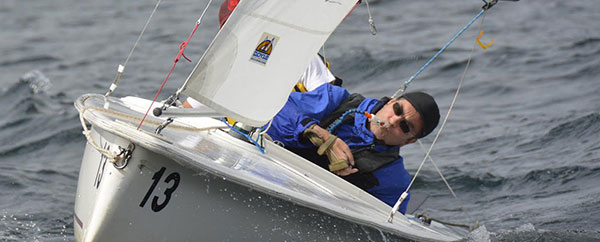 Dave using breath-control to race his sailboat
