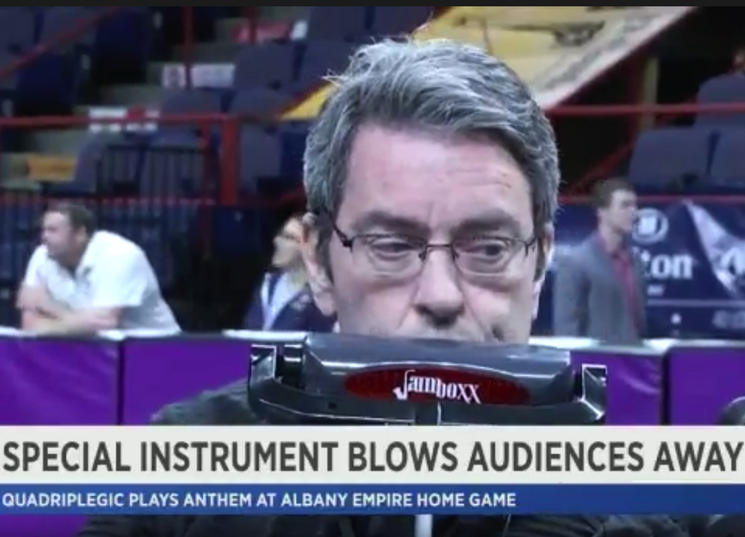Dave Whalen plays the Jamboxx at the Albany Empire arena football game