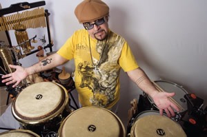 Jackie Bertone and his drum set.