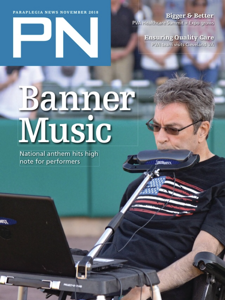 Dave Whalen on the cover of Parapalegia News magazine, Nov 2018